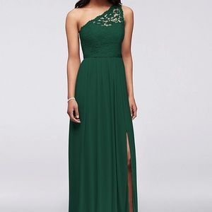David's Bridal bridesmaid Juniper green F17063